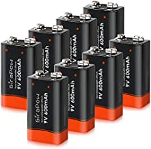 Girapow 9V Lithium Batteries, 8-Count 600mAh 9 Volt Long Lasting Durable Battery for Smoke Detector, Fire Alarm System, Multimeter, Microphone (Single Use)