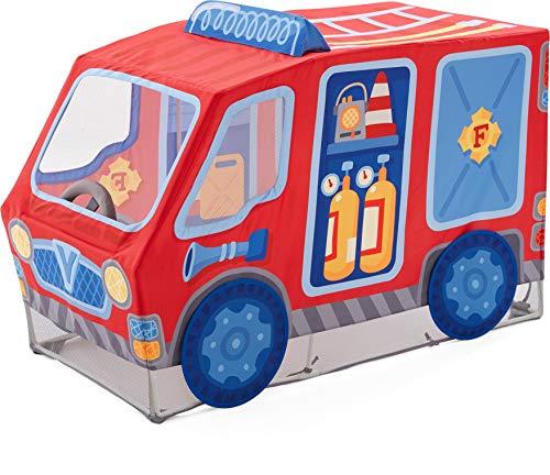 HABA 304210 - Spielzelt Feuerwehr, Feuerwehrauto aus Stoff mit drehbarem Lenkrad, ab 18 Monaten, Maße: L 127 x B 64 x H 95 cm