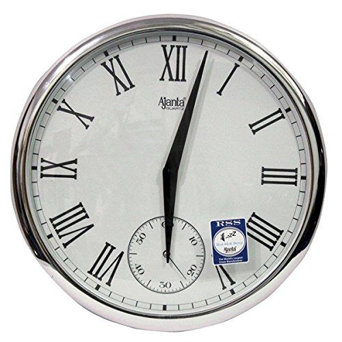 Ajanta - 2837-SILVER Plastic Wall Clock (360 cm x 360 cm x 45 cm, Silver)