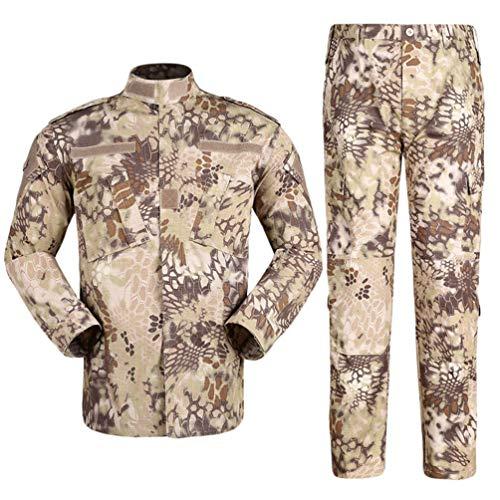 Zhiyuanan Herren Tactical Camouflage Uniform Anzug 2 Stück Sets Outdoor Jagd Trekking Camping Militär Kampf wasserdichte Wandern Jacken + Camo Hosen Tarnmuster Kleidung Wüste Python Muster L