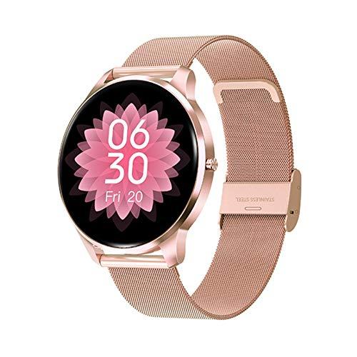 LYB Neue Smart Watch Frauen IP68 wasserdichte Voll-Touch-Display Herzfrequenz-Monitor Blutdruck Smartwatch Männer Aluminium-Gehäuse (Color : Mesh Rose Gold)