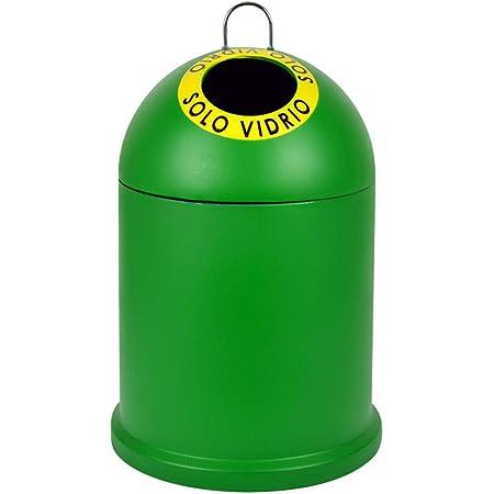 TIENDA EURASIA Contenedor - Cubo de Basura para Reciclaje de Vidrio, 46 x 28 x 28 cm, Verde Liso