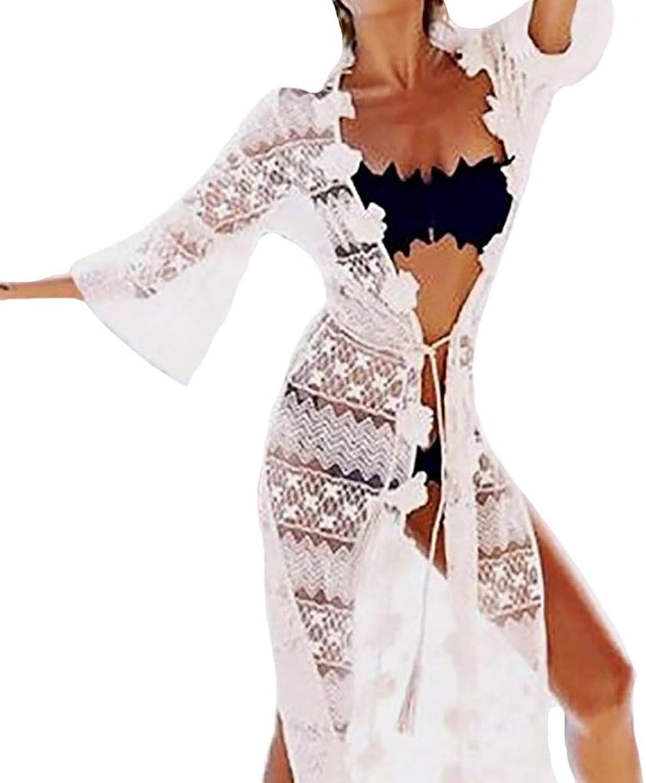 YOUBEST Bestyou Women's Long Lace Kimono Jacket Cardigan Crochet Dress Beach Bikini Swimsuit Cover Ups Swimwear