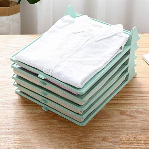 Organizador Camisetas10 piezas aumentó la versión Junta de plegado ropa de carpetas Armario camiseta organizador del cajón escritorio Vertical documento Organizador 100% reciclable,Verde,M