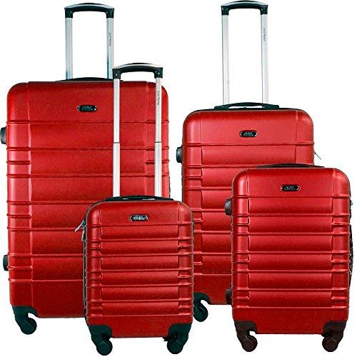 JUTS HOME Set de Maleta 4 pzas Maleta de Viaje Rigidas Resistente Ruedas Giratorias 360º (Rayas Horizontales Color Rojo) Medidas 16', 20', 24', 28'