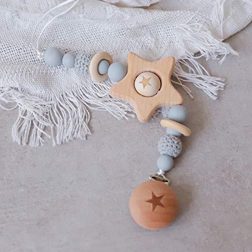 Mamimami Home 1pc Baby Silikon Perlen Beißring Grau häkeln Perlen Holzring Greiflinge für Babys