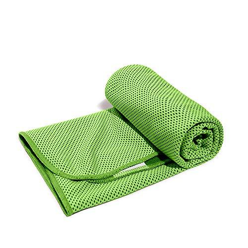 「1+1」冷感タオル クールタオル ひんやりタオル ネッククーラー アウトドア 子供 熱中症 towel 節電 夏 冷たいタオル 冷えるタオル (グリーン(green))