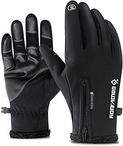 MHYNLMW Touch-Screen-Handschuhe, Winddicht Handschuhe bei kaltem Wetter Wärme for intelligente SMS - Rutsch Silikongel Handwärmer Frau Männer Radfahren und Laufen (Color : Black, Size : XXLarge)