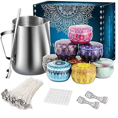HONDER Kit de fabricación de velas para adultos, velas y herramientas de manualidades para principiantes, paquete de iniciación con mechas de vela tarros de vela (no incluye cera de abejas)