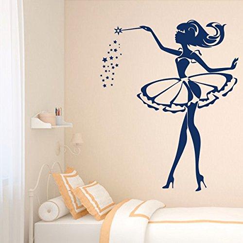 denoda Gute Nacht Fee - Wandtattoo Weiss 25 x 31 cm (Wandsticker Wanddekoration Wohndeko Wohnzimmer Kinderzimmer Schlafzimmer Wand Aufkleber)