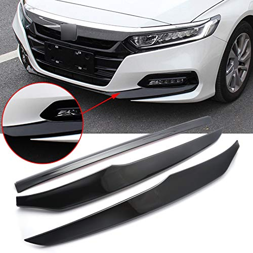 Xotic Tech Car Accessories Front Bumper Lip Cover Stripes Decor Protector Trims, 3pcs Compatible with Honda Accord 10th 2018 2019 2020 2021(Glossy Black)