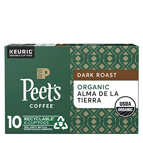 Peet's Coffee Organic Alma De La Tierra K-Cup Coffee Pods for Keurig Brewers, Dark Roast, 10 Pods