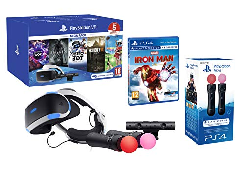 PlayStation VR2 MegaPack 2 Marvel's Iron Man VR + Astro Bot + Skyrim V + Resident Evil 7 + Everybody's Golf + VR Worlds + Cámara V2 + Pack 2 Mandos Move Twin