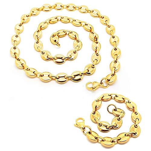 BOBIJOO Jewelry - Ensemble Lot Collier Chaîne + Bracelet Grain de Café Acier Plaqué Or 4 Tailles - Doré 9mm