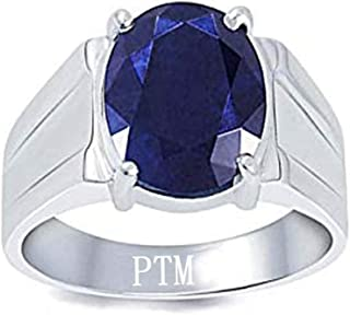 050fdaad1 PTM Certified Natural Blue Sapphire (Neelam) Sterling Silver Ring 6.25  Ratti or 5.69 Carat