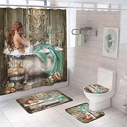 Duschvorhang, Gelb-weiße Cyan-Badewanne Meerjungfrau Wasserdicht Farbfest Schimmel Resistent Beständiges Antibakterielles Badezimmer Gardinen Badezimmer Duschvorhang Gesetzt Polyester 150×180 cm