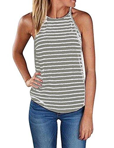 Sherosa Women's Casual Spaghetti Strap Floral Print Tank Tops Camis Shirt (M, Light GRET & White)