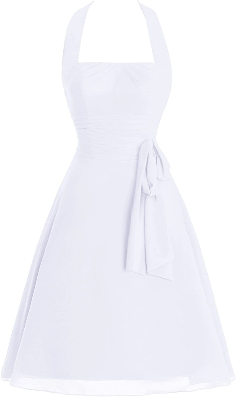 JudyBridal Women ALine Halter Cocktail Party Gown KneeLength Bridesmaid Dresses