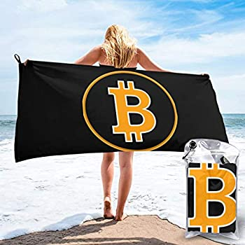 Bitcoin Logo Bitcoin Sign Beach Towel Men Women Microfiber Pool Towel Oversized Bath Towel Quick Dry Towels for Traveling Swimming
