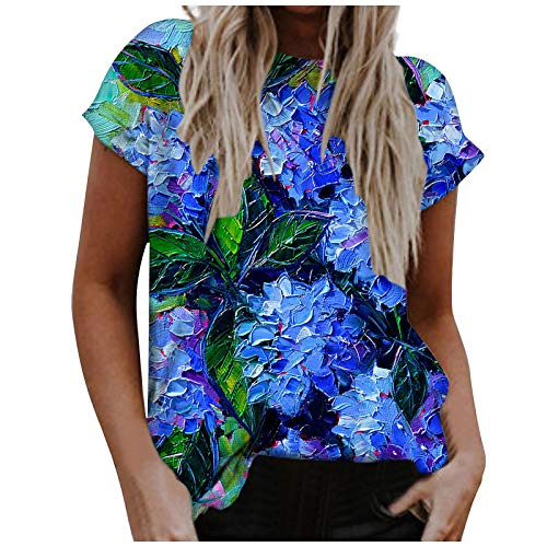 Tshirt for Women, Women's Round Neck Tees Dragonfly Print Floral Graphic Comfy Vacation Casual Short Blouse Tops