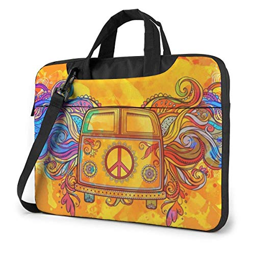 Coche de época con Bolso de Hombro para portátil con Estampado de Signo de la Paz, maletín para portátil, Bolso de Mensajero de Negocios, maletín