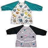 Set mit 2 Sobakids-Langarm-Lätzchen - Leicht zu reinigendes, wasserdichtes Lätzchen - Langarm mit gespanntem, elastischem Handgelenk - Baby Boy oder Girl 6 bis 24 Monate - Gratis Bonus
