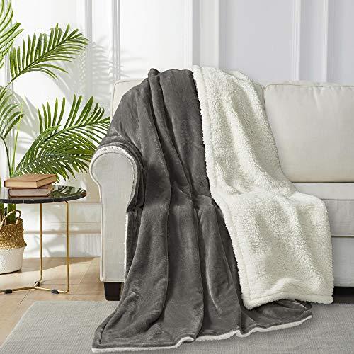 WOLTU Sherpa Decke Kuscheldecke Wohndecke, Weiche& Warme Sofadecke Fleecedecke, als Bettdecke Couchdecke und Tagesdecke, 220x240cm Grau