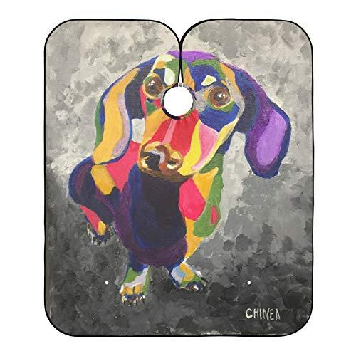 Cabo de peluquero Duchshund pintura de retrato de perro impresa capas de corte de pelo, babero de afeitar para el salón de casa y barbería