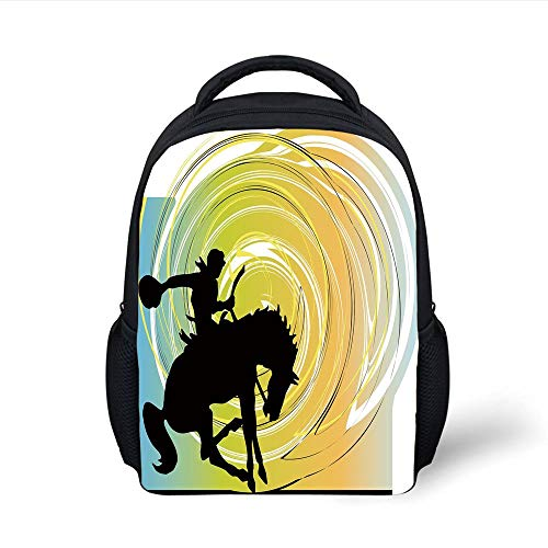 Kids School Backpack Western,Galloping Horse Cowboy Silhouette Colorful Abstract Circular Backdrop Equestrian Decorative, Plain Bookbag Travel Daypack