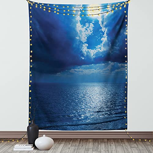 Ambesonne Ocean Tapestry, Romantic Full Moon Between Clouds Over a Quiet Dramatic Sea Tranquil Image, Wall Hanging for Bedroom Living Room Dorm Decor, 60' X 80', Navy Blue