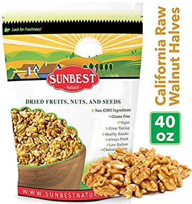 SUNBEST NATURAL Shelled California Walnuts, Raw, Resealable Bag