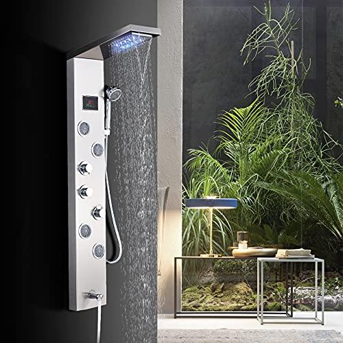 TVTIUO Panel De Ducha LED Columna de Hidromasaje Ducha,5 Función con Pantalla LCD 4 boquillasSistema de Ducha Montaje en Pared Acero Inoxidable,níquel pulido