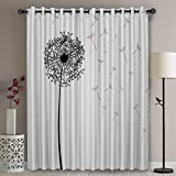 Libaoge Wide Thermal Blackout Patio Door Curtain Panel - 72 Inch Long Grommet Top Thermal Insulated Bedroom Darkening Curtain - Hope Dandelion Seed Flying Black White Curtains for Sliding Glass Door