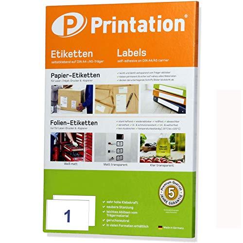 Versand-Etiketten A5 50 Stk. 210 x 148,5 mm weiß selbstklebend - Adressaufkleber/Paketaufkleber 50 DIN A5 Bogen à 1x1 210x148mm Sticker/Labels - 6135 8690