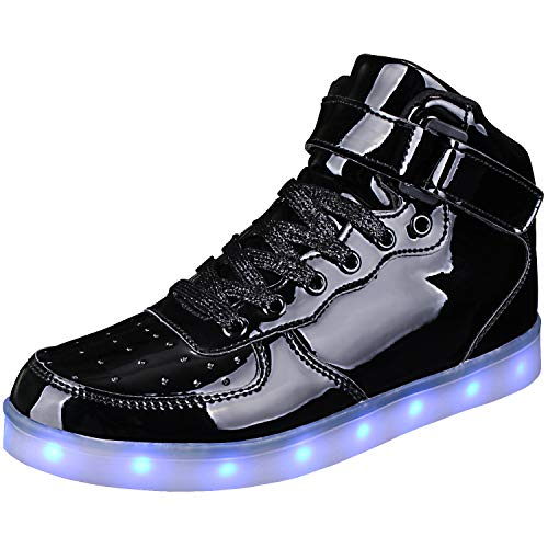WONZOM LED Light Up Shoes USB Flashing Sneakers for Toddler/Kids Boots-33(Shining Black
