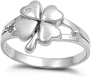 Sterling Silver Women's Lucky 4 Leaf Clover Ring Beautiful 925 Band Sizes 4-10