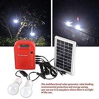 ソーラー照明システム、ポータブルホーム屋外ソーラーエネルギーUSB充電2 LED電球発電照明システム