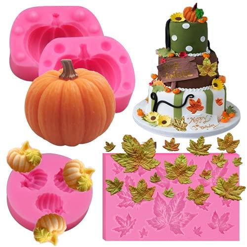 Juego de moldes de calabaza 3D Mini molde de silicona de hoja de arce de calabaza para fondant Molde de gelatina de chocolate para dulces de Halloween para Halloween Acción de gracias Navidad Hornear