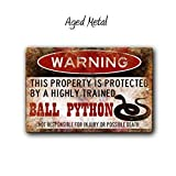 Anjoes Ball Python Sign,Funny Metal Signs,Ball Python Accessories,Snake Warning Sign Aluminum Metal Sign 8 X 12 Inches