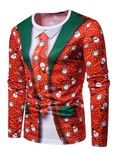 YCHENG Camiseta Navidad Hombre Moda Mangas Largas Casual Santa y Nieve Alces Tops (M, Color 2)