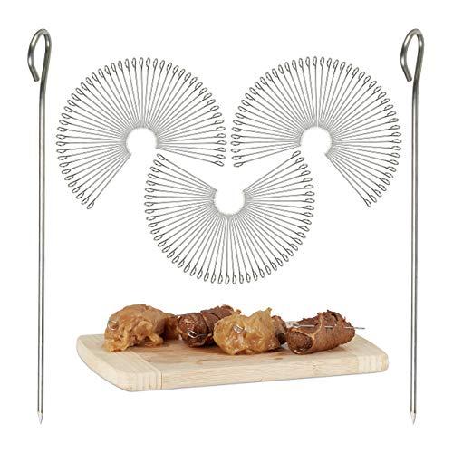150 Rouladennadeln im Set, Spicknadeln aus Edelstahl, Fleischnadeln 11 cm, silber