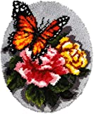 Latch Hook Rug Kit Floral Butterfly 20.4X20.4 in
