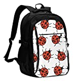 asfg Resistente a Las Manchas Pattern with Red Ladybugs Multifunctional Personalized Customized USB Backpack, Student School Outdoor Backpack,Travel Bag Laptop Bookbags Business Daypack.