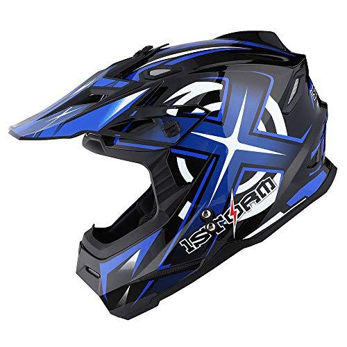 1Storm Motocross BMX MX Adult ATV Helmet Racing Style HF801; Sonic Blue