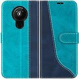 Mulbess Handyhülle für Nokia 5.3 Hülle Leder, Nokia 5.3 Handy Hüllen, Modisch Flip Handytasche Schutzhülle für Nokia 5.3, Mint Blau