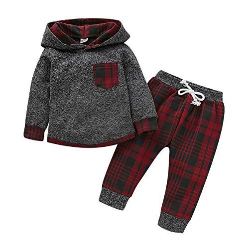 Conjuntos de chándal con Capucha de Manga Larga para bebés y niños pequeños con Pantalones Casuales Conjuntos de Ropa de 2 Piezas (Caja roja, 12-18 Meses)