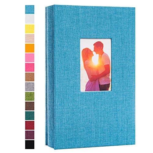 potricher Photo Album for 4x6 300 Photos Linen Cover Photo Book for Family Wedding Anniversary Baby (Blue, 300 Pockets)