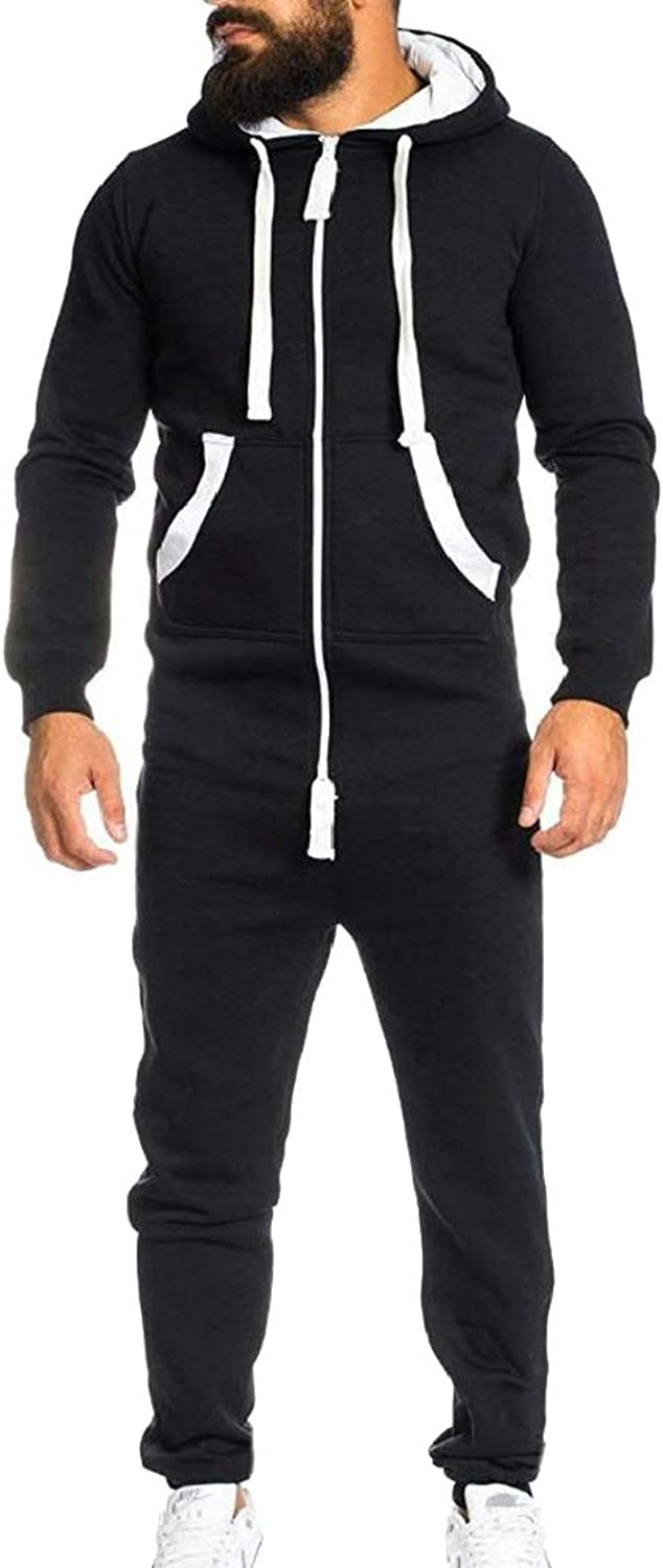 Chenshiba-AU Mens Tracksuits Active Jogger Hoodies Zip Running Workout Jumpsuits Rompers