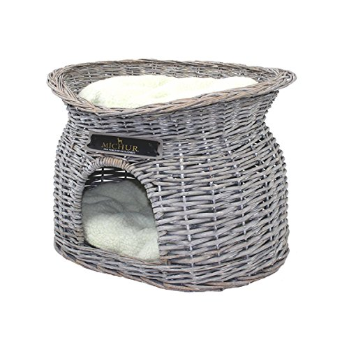 MICHUR Richy, Cave of Cats, Cave Dogs, Cat Basket, Dog Basket, Willow, Malacca, Natura, ca. 55x39x43cm (Dimensiones: Aproximadamente 40x28cm), Canasta de Mimbre de Gato Gris Cat