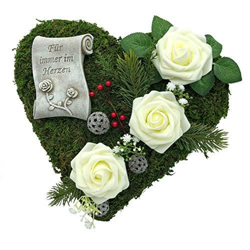 Radami Grabgesteck Grabschmuck Grabaufleger Moosherz Grabherz Kreuz oder Engel Trauerherz Grab Herz Gesteck Rosen (30cm- 3 Rosen weiß Fürim)
